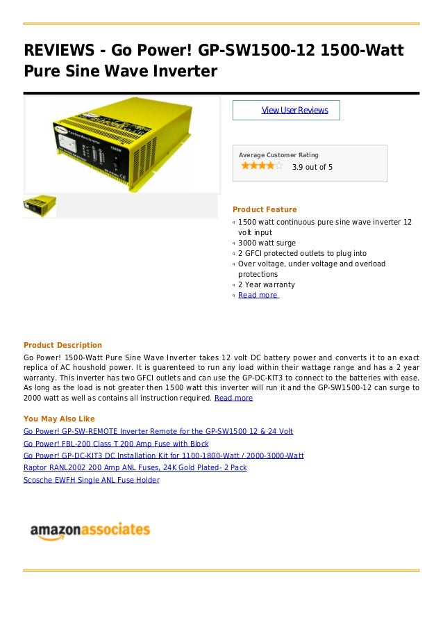 Go power! gp sw1500-12 1500-watt pure sine wave inverter