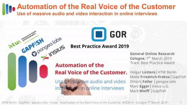 HTW Berlin · GapFish · pangea labs · insius · Automation of the Real Voice of the Customer. #GOR19 · Cologne 7th March 201...