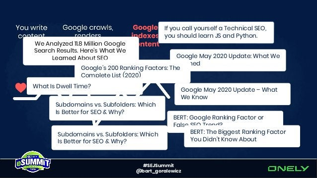 #SEJSummit @bart_goralewicz SEO community is slowly starting to notice indexing issues.