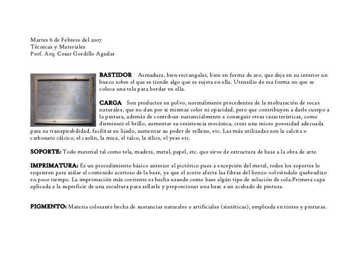 Martes 6 de Febrero del 2007Técnicas y MaterialesProf. Arq. Cesar Gordillo Aguilar                            BASTIDOR Arm...