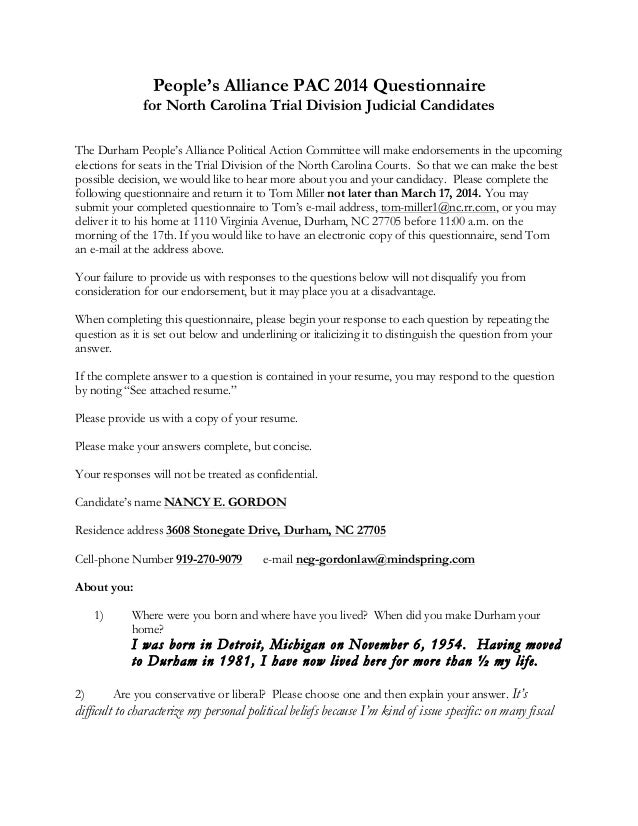 People's Alliance PAC 2014 Questionnaire for North Carolina Trial Division Judicial Candidates The Durham People's Allianc...