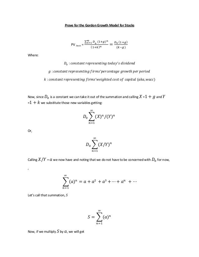 gordon growth model Notes on the intrinsic valuation models and b-k-m chapter 18 roger craine   gordon's formula (constant dividend growth model b-k-m 183) gordon's.