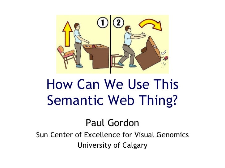 How Can We Use This Semantic Web Thing? Paul Gordon Sun Center of Excellence for Visual Genomics University of Calgary