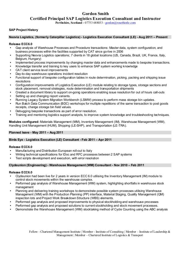sap logistics execution consultant cv - Sample Sap Resume