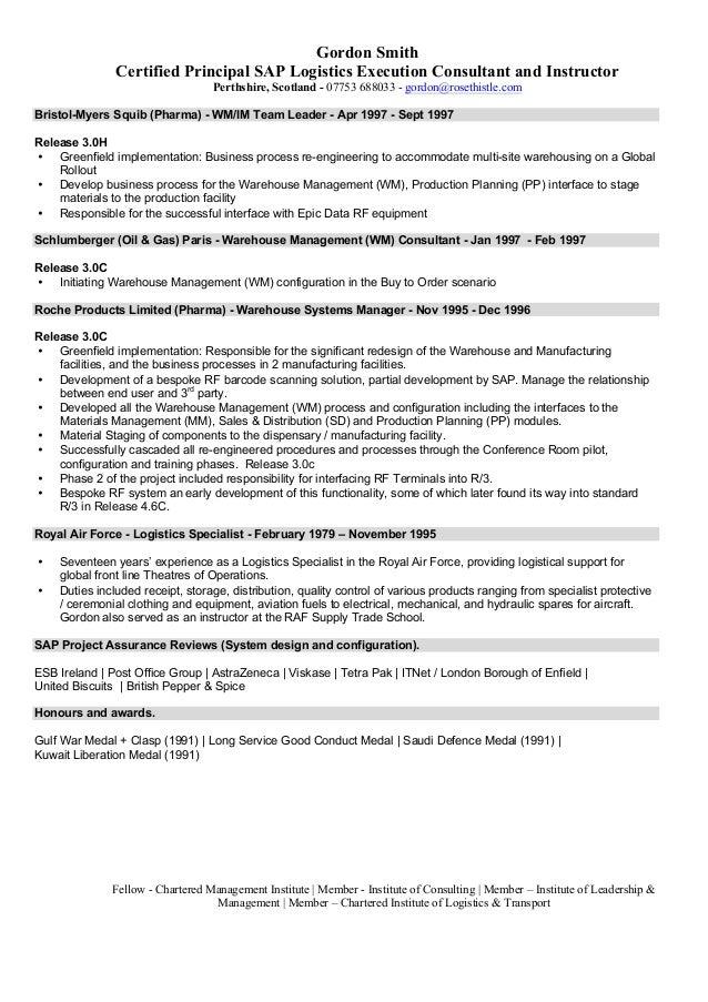 Sap Wm Resume A Good Resume Example