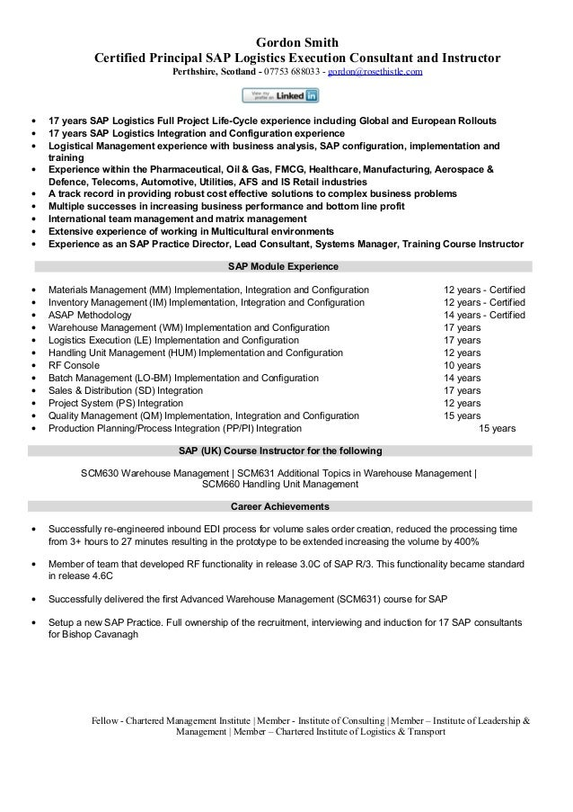 Sap logistics execution consultant cv for Sample resume for sap abap 1 year of experience