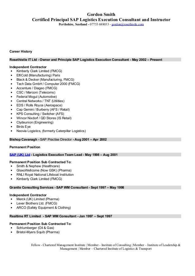 resume samples for sap consultant