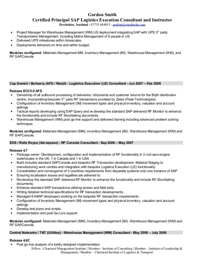 Sap Pp Qm Resume Sap Is Industry Solutions Sample Resume