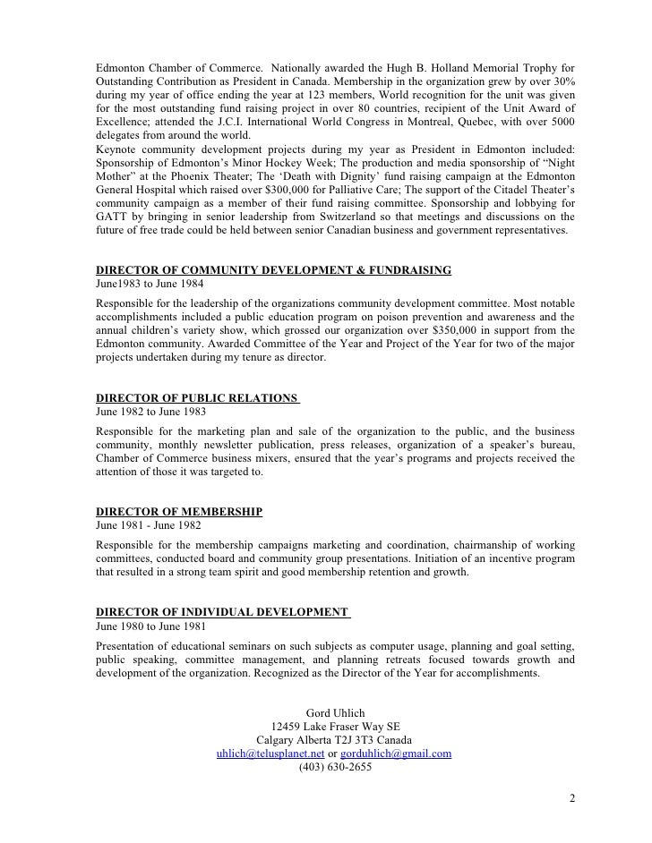 community development resume professional director
