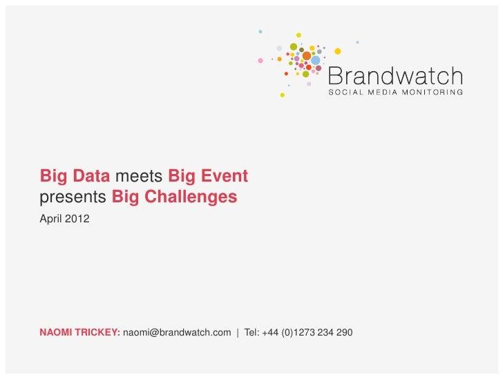 Big Data meets Big Eventpresents Big ChallengesApril 2012NAOMI TRICKEY: naomi@brandwatch.com | Tel: +44 (0)1273 234 290