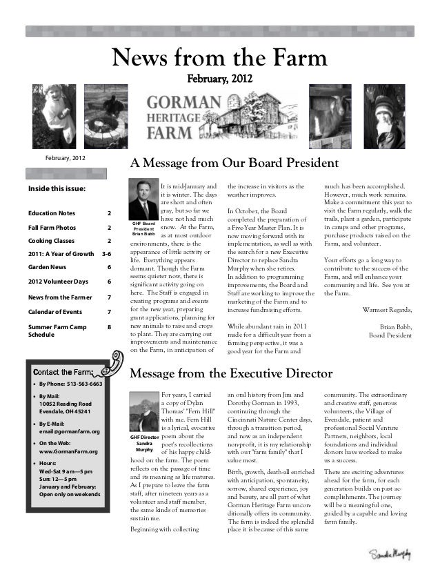 News from the Farm     February, 2012                                  A Message from Our Board PresidentInside this issue...