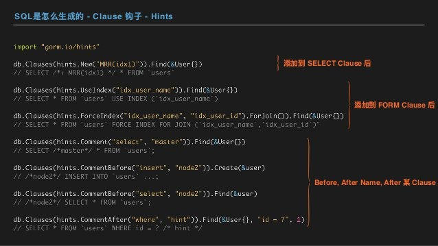 SQL是怎么⽣成的 - Clause 钩⼦ - Hints 添加到 SELECT Clause 后 添加到 FORM Clause 后 Before, After Name, After 某 Clause