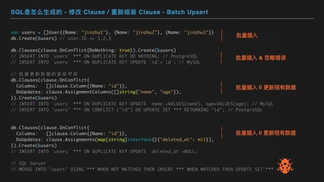 SQL是怎么⽣成的 - 修改 Clause / 重新组装 Clause - Batch Upsert 批量插⼊ 批量插⼊ & 忽略错误 批量插⼊    更新现有数据 批量插⼊    更新现有数据