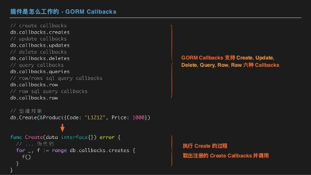 插件是怎么⼯作的 - GORM Callbacks 执⾏ Create 的过程 取出注册的 Create Callbacks 并调⽤ GORM Callbacks ⽀持 Create, Update, Delete, Query, Row, R...