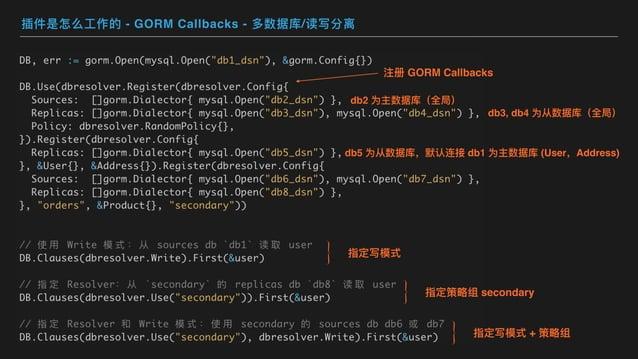 插件是怎么⼯作的 - GORM Callbacks - 多数据库/读写分离 db2 为主数据库(全局) db3, db4 为从数据库(全局) db5 为从数据库,默认连接 db1 为主数据库 (User,Address) 注册 GORM Cal...