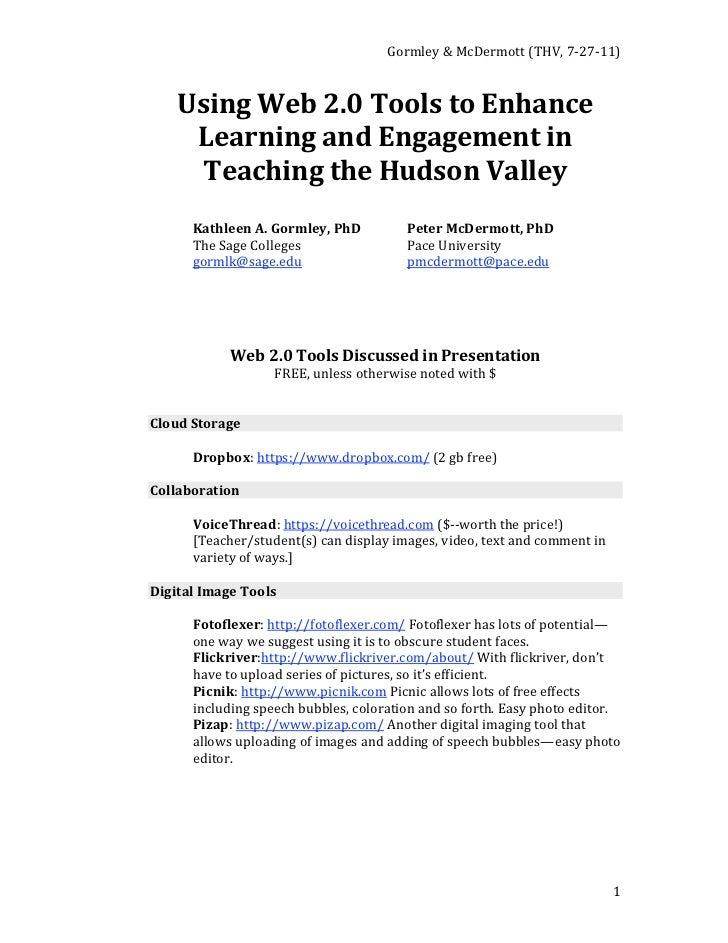Gormley&McDermott(THV,7‐27‐11)    UsingWeb2.0ToolstoEnhance     LearningandEngagementin      TeachingtheH...