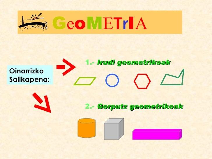 1.-  Irudi geometrikoak 2.-  Gorputz geometrikoak Oinarrizko Sailkapena: G e o M E T r I A