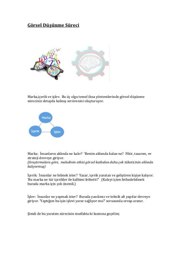 Görsel Düşünme Süreci  Marka,içerik ve işlev. Bu üç olgu temel ikna yöntemlerinde görsel düşünme sürecinin detayda kalmış ...