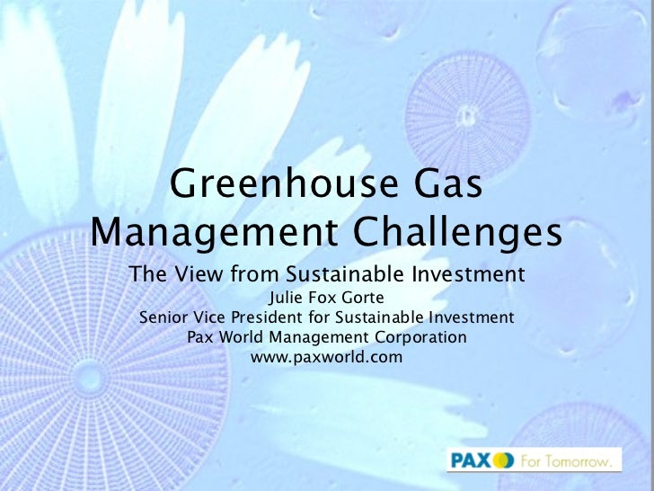 Greenhouse Gas Management Challenges The View from Sustainable Investment Julie Fox Gorte Senior Vice President for Sustai...