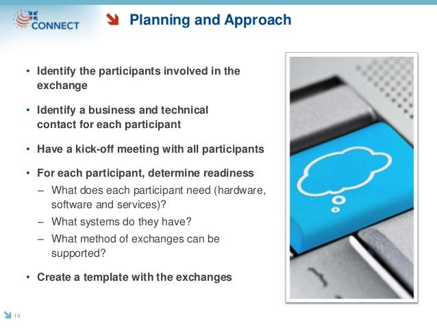 Planning and Approach • Identify the participants involved in the exchange • Identify a business and technical contact for...