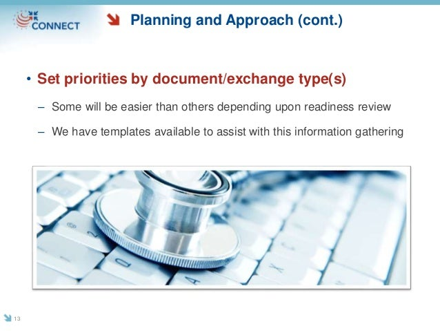 Planning and Approach (cont.) • Set priorities by document/exchange type(s) – Some will be easier than others depending up...