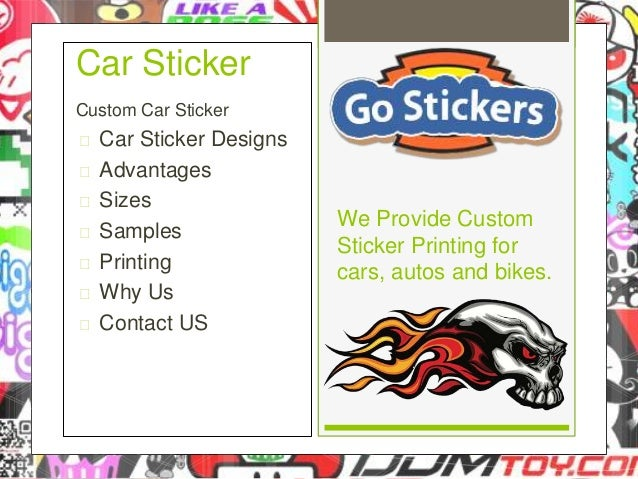 Custom car sticker  car sticker designs  advantages  sizes  samples  printing