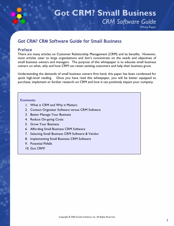 Got CRM? Small Business                                                                           CRM Software Guide      ...