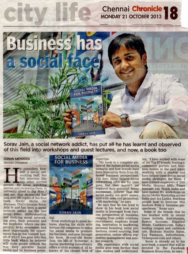 Featured in Deccan Chronicle for my book Social Media for Business