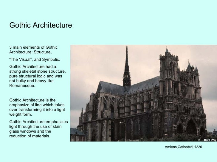 """Gothic Architecture 3 main elements of Gothic Architecture: Structure, """" The Visual"""", and Symbolic. Gothic Architecture ha..."""