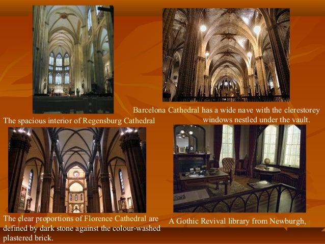 The spacious interior of Regensburg Cathedral Barcelona Cathedral has a wide nave with the clerestorey windows nestled und...