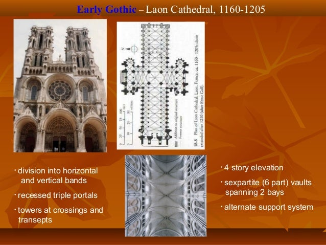 High Gothic – Amiens Cathedral, 1220-1236 • 3 story elevation • quadripartite (4 part) vaults spanning 1 rectangular bay •...
