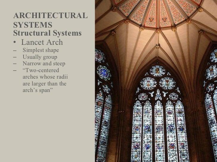 ARCHITECTURAL  SYSTEMS <ul><li>Structural Systems </li></ul><ul><li>Lancet Arch </li></ul><ul><ul><li>Simplest shape </li>...