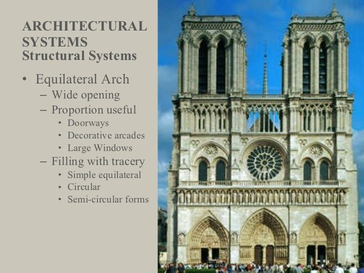ARCHITECTURAL  SYSTEMS <ul><li>Structural Systems </li></ul><ul><li>Equilateral Arch </li></ul><ul><ul><li>Wide opening </...