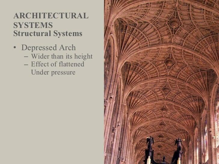 ARCHITECTURAL  SYSTEMS <ul><li>Structural Systems </li></ul><ul><li>Depressed Arch </li></ul><ul><ul><li>Wider than its he...