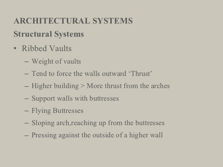 ARCHITECTURAL SYSTEMS <ul><li>Structural Systems </li></ul><ul><li>Ribbed Vaults </li></ul><ul><ul><li>Weight of vaults </...