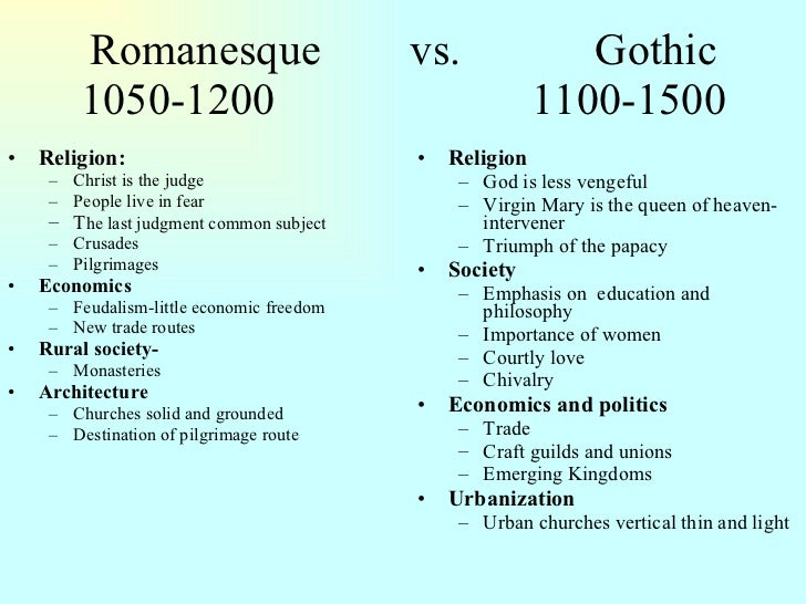 compare and contrast romanesque and gothic architecture View essay - compare and contrast romanesque with gothic art and architecture from social studies 1884 at virtual learning academy charter school 1 running head: romanesque vs gothic differences.