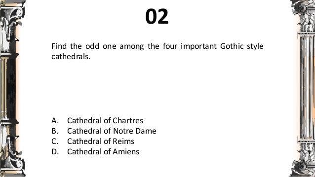 short quizzes on gothic baroque romanesque rennaissance architectu