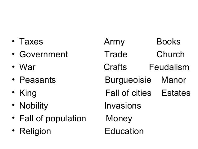 • Taxes Army Books • Government Trade Church • War Crafts Feudalism • Peasants Burgueoisie Manor • King Fall of cities Est...