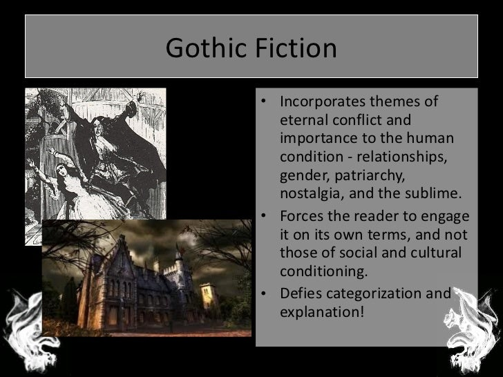 elements and concepts in the gothic literature sublime supernatural and horror Setting common gothic settings often include old castles, caves, cliffs, ships, ruins, and tombs the setting is meant to invoke feelings of entrapment, claustrophobia, and danger often, the landscapes and other setting elements constitute the sublime, meaning that it creates emotion and often fear in the characters or audience the setting in pirates of the.