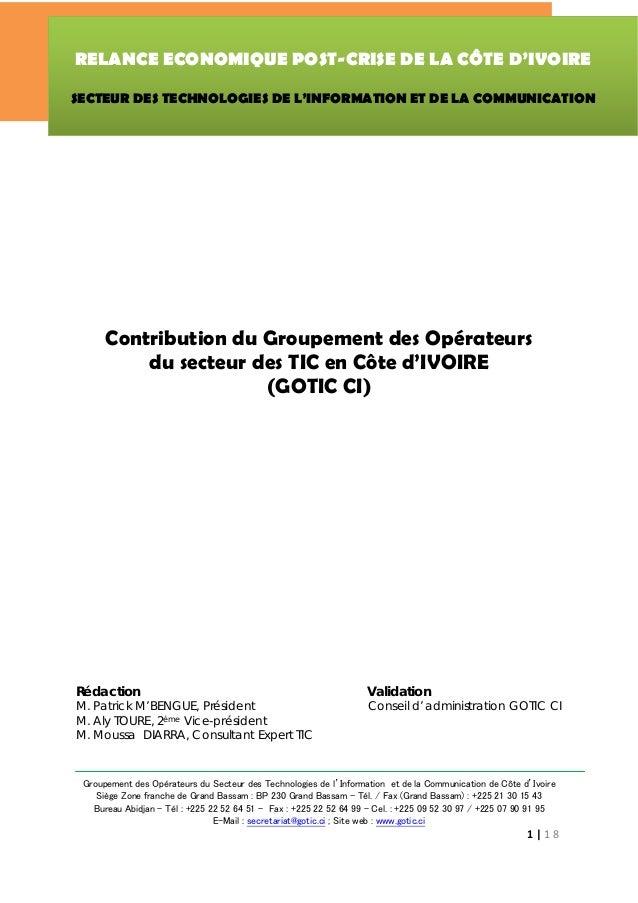 RELANCE ECONOMIQUE POST-CRISE DE LA CÔTE D'IVOIRE                                     SECTEUR DES TECHNOLOGIES DE L'INFOR...