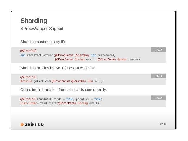 Sharding Auto Partitioning Collections @SProcCall(parallel = true) void updateStockItems(@SProcParam @ShardKey List<StockI...