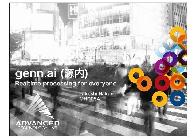 genn.ai (源内) Realtime processing for everyone Takeshi Nakano @tf0054  1