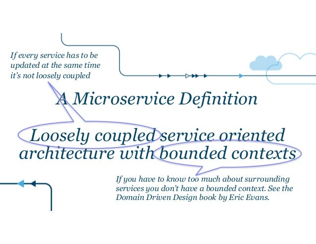 A Microservice Definition ! Loosely coupled service oriented architecture with bounded contexts If every service has to be...