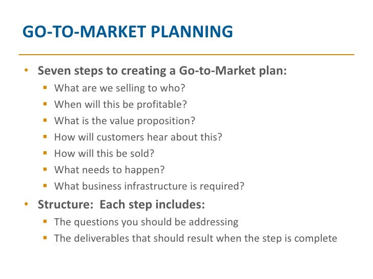 Go To Market Planning - Go to market strategy template