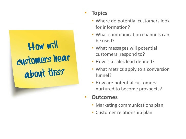 • Topics  • Where do potential customers look    for information?  • What communication channels can    be used?  • What m...