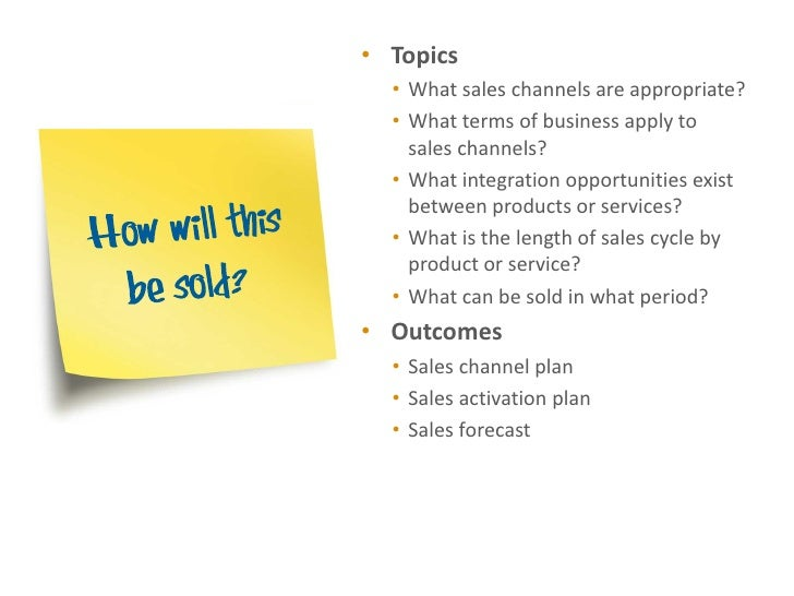 • Topics  • What sales channels are appropriate?  • What terms of business apply to    sales channels?  • What integration...