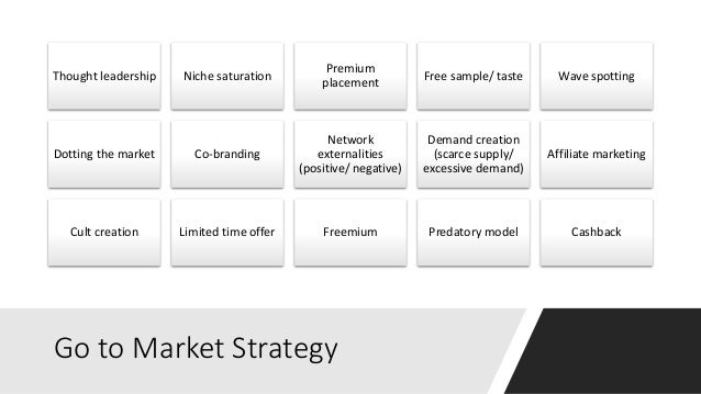 Go to Market Strategy Thought leadership Niche saturation Premium placement Free sample/ taste Wave spotting Dotting the m...