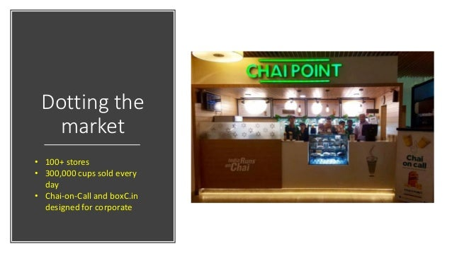 Dotting the market • 100+ stores • 300,000 cups sold every day • Chai-on-Call and boxC.in designed for corporate