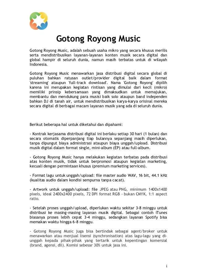 Gotong Royong MusicGotong Royong Music, adalah sebuah usaha mikro yang secara khusus merilisserta mendis...