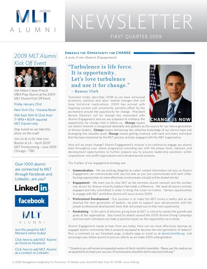 NEWSLETTER                     FIRST QUARTER 2009                                          Embrace the Opportunity for CHA...